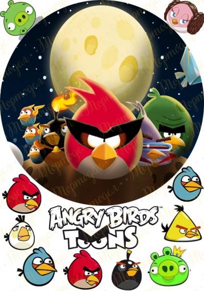 Вафельная картинка Angry Birds № 1. Купить вафельную или сахарную картинку Киев и Украина. Цена в интернет магазине Тортодел.