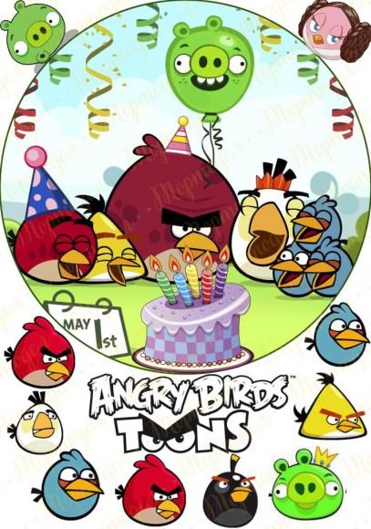 Вафельная картинка Angry Birds № 2. Купить вафельную или сахарную картинку Киев и Украина. Цена в интернет магазине Тортодел.