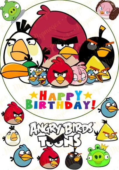 Вафельная картинка Angry Birds № 3. Купить вафельную или сахарную картинку Киев и Украина. Цена в интернет магазине Тортодел.