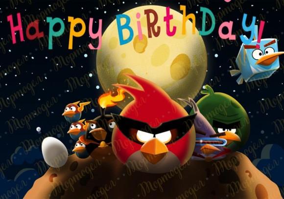 Вафельная картинка Angry Birds № 4. Купить вафельную или сахарную картинку Киев и Украина. Цена в интернет магазине Тортодел.
