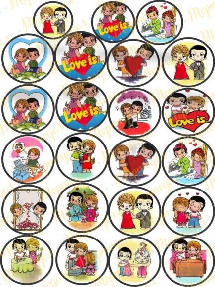 Картинка для маффинов и капкейков  Love is №2. Купить вафельную или сахарную картинку Киев и Украина. Цена в интернет магазине Тортодел.