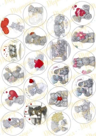 Картинка для маффинов и капкейков  Teddy №2. Купить вафельную или сахарную картинку Киев и Украина. Цена в интернет магазине Тортодел.