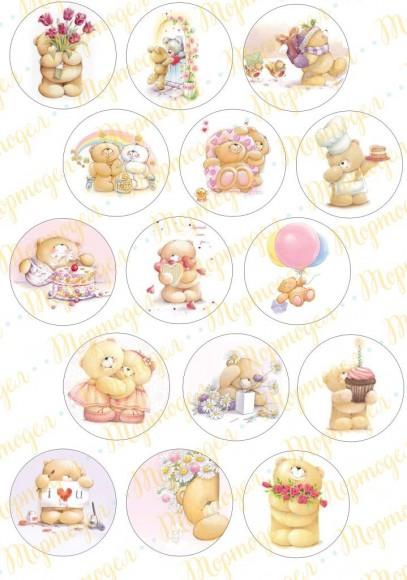Картинка для маффинов и капкейков  Teddy №3. Купить вафельную или сахарную картинку Киев и Украина. Цена в интернет магазине Тортодел.