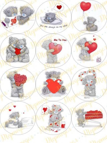 Картинка для маффинов и капкейков  Teddy №1. Купить вафельную или сахарную картинку Киев и Украина. Цена в интернет магазине Тортодел.