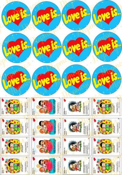 Картинка для маффинов и капкейков  Love is №7. Купить вафельную или сахарную картинку Киев и Украина. Цена в интернет магазине Тортодел.