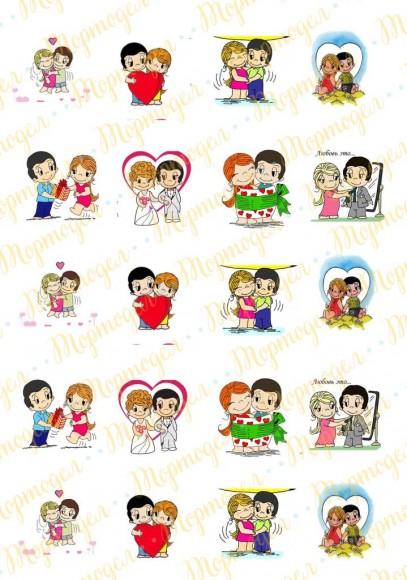 Картинка для маффинов и капкейков  Love is №8. Купить вафельную или сахарную картинку Киев и Украина. Цена в интернет магазине Тортодел.