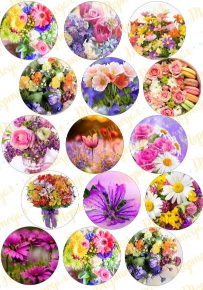 Картинка для маффинов и капкейков  Цветы №1. Купить вафельную или сахарную картинку Киев и Украина. Цена в интернет магазине Тортодел.