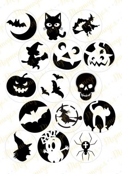 Картинка для маффинов и капкейков  Хеллоуин №4. Купить вафельную или сахарную картинку Киев и Украина. Цена в интернет магазине Тортодел.