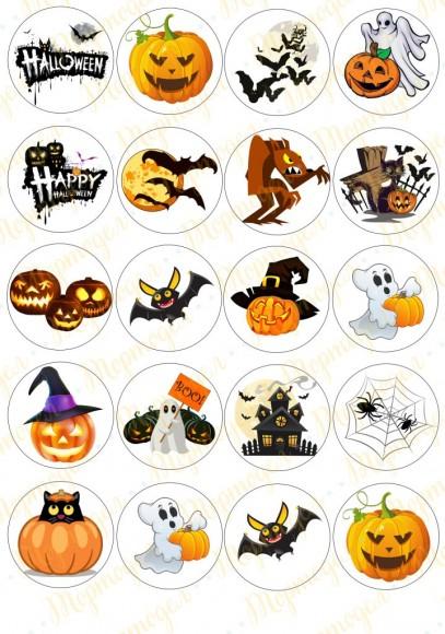 Картинка для маффинов и капкейков  Хеллоуин №14. Купить вафельную или сахарную картинку Киев и Украина. Цена в интернет магазине Тортодел.