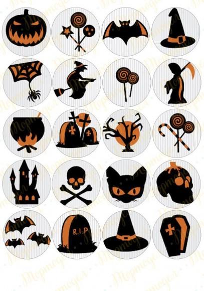 Картинка для маффинов и капкейков  Хеллоуин №10. Купить вафельную или сахарную картинку Киев и Украина. Цена в интернет магазине Тортодел.