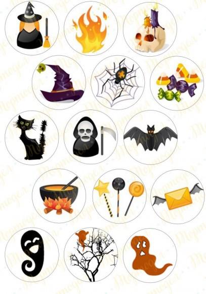 Картинка для маффинов и капкейков  Хеллоуин №11. Купить вафельную или сахарную картинку Киев и Украина. Цена в интернет магазине Тортодел.