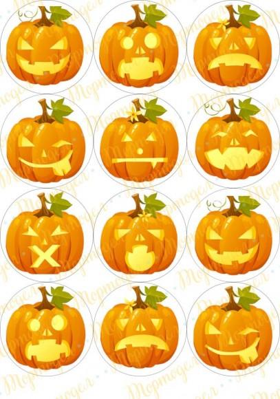 Картинка для маффинов и капкейков  Хеллоуин №1. Купить вафельную или сахарную картинку Киев и Украина. Цена в интернет магазине Тортодел.