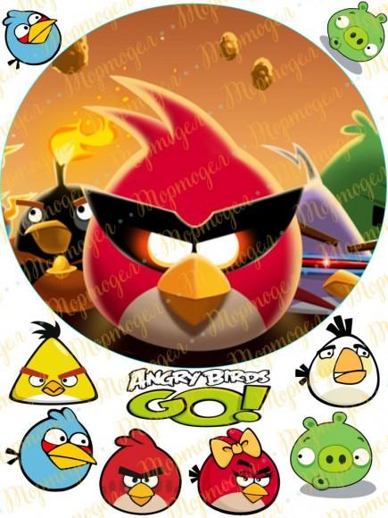 Вафельная картинка Angry Birds № 5. Купить вафельную или сахарную картинку Киев и Украина. Цена в интернет магазине Тортодел.