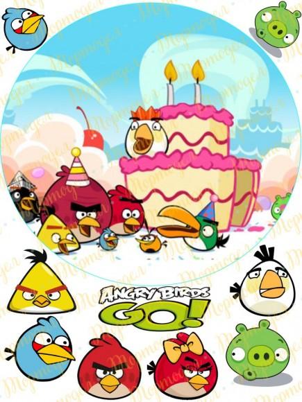 Вафельная картинка Angry Birds № 6. Купить вафельную или сахарную картинку Киев и Украина. Цена в интернет магазине Тортодел.
