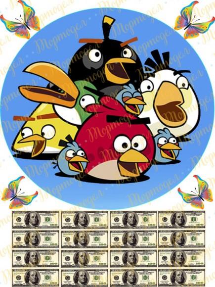 Вафельная картинка Angry Birds № 7. Купить вафельную или сахарную картинку Киев и Украина. Цена в интернет магазине Тортодел.