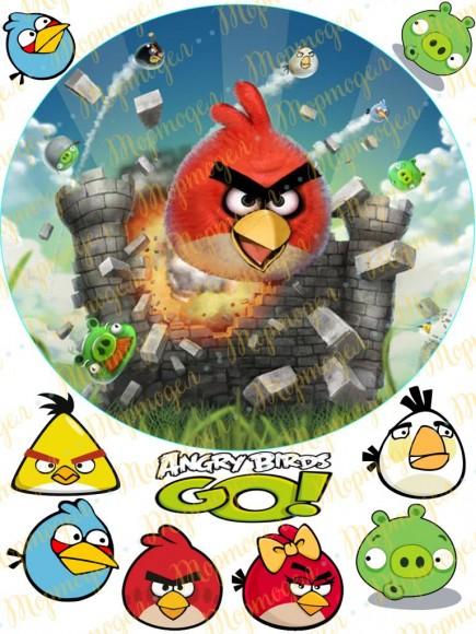 Вафельная картинка Angry Birds № 8. Купить вафельную или сахарную картинку Киев и Украина. Цена в интернет магазине Тортодел.
