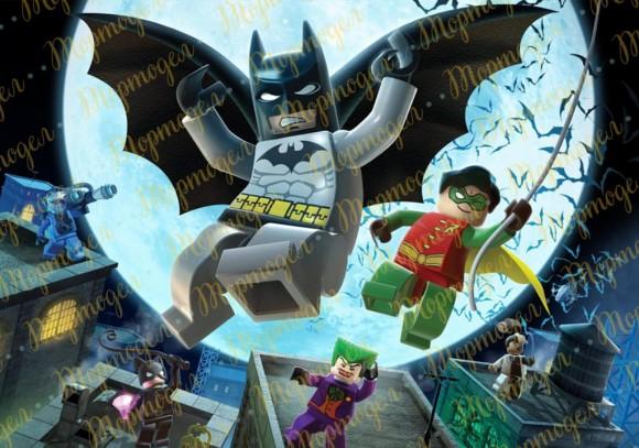 Вафельная картинка  Бетмен Лего №1. Купить вафельную или сахарную картинку Киев и Украина. Цена в интернет магазине Тортодел.