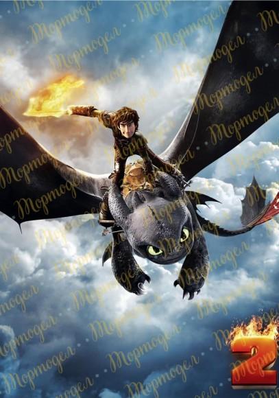 Вафельная картинка Как приручить дракона №2. Купить вафельную или сахарную картинку Киев и Украина. Цена в интернет магазине Тортодел.