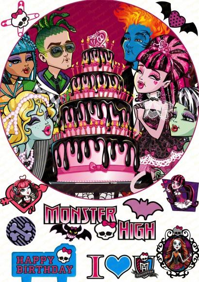 Съедобная картинка Монстер Хай №2 Monster High Купить вафельную или сахарную картинку Киев и Украина. Цена в интернет магазине Тортодел.