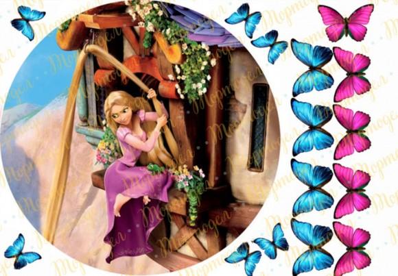 Вафельная картинка Рапунцель №9. Купить вафельную или сахарную картинку Киев и Украина. Цена в интернет магазине Тортодел.