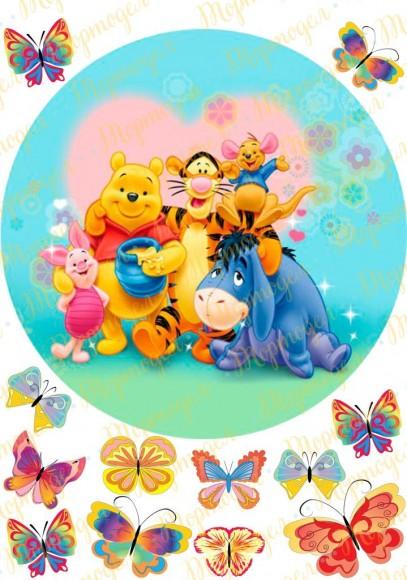 Вафельная картинка Винни Пух №7. Купить вафельную или сахарную картинку Киев и Украина. Цена в интернет магазине Тортодел.