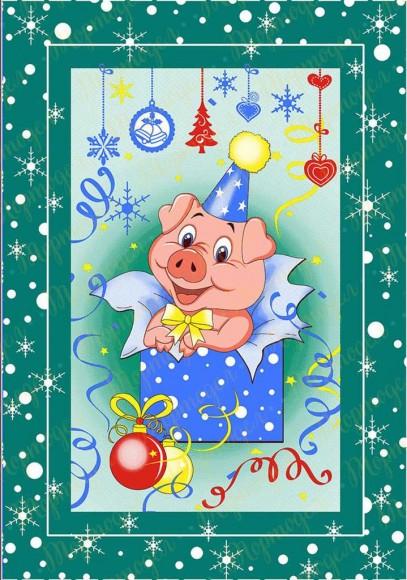 Вафельная картинка Новый год № 32. Купить вафельную или сахарную картинку Киев и Украина. Цена в интернет магазине Тортодел.