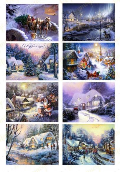 Картинка для маффинов и капкейков Новый год № 22. Купить вафельную или сахарную картинку Киев и Украина. Цена в интернет магазине Тортодел.
