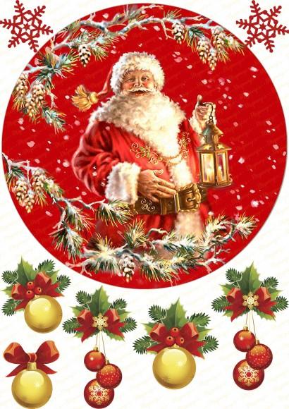 Вафельная картинка Новый год № 12. Купить вафельную или сахарную картинку Киев и Украина. Цена в интернет магазине Тортодел.