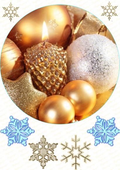 Вафельная картинка Новый год №  5 . Купить вафельную или сахарную картинку Киев и Украина. Цена в интернет магазине Тортодел.