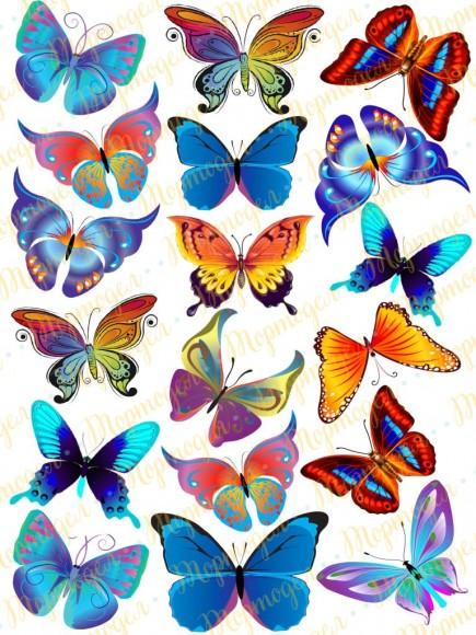 Вафельная картинка Бабочки №10. Купить вафельную или сахарную картинку Киев и Украина. Цена в интернет магазине Тортодел.