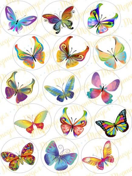Вафельная картинка Бабочки №12. Купить вафельную или сахарную картинку Киев и Украина. Цена в интернет магазине Тортодел.