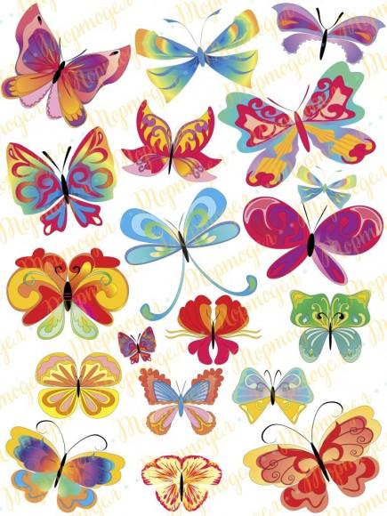 Вафельная картинка Бабочки №7. Купить вафельную или сахарную картинку Киев и Украина. Цена в интернет магазине Тортодел.