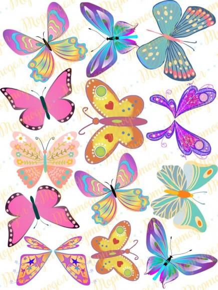 Вафельная картинка Бабочки №8. Купить вафельную или сахарную картинку Киев и Украина. Цена в интернет магазине Тортодел.