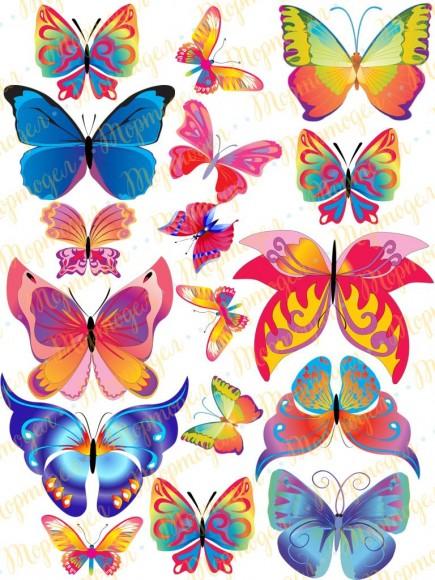 Вафельная картинка Бабочки №9. Купить вафельную или сахарную картинку Киев и Украина. Цена в интернет магазине Тортодел.