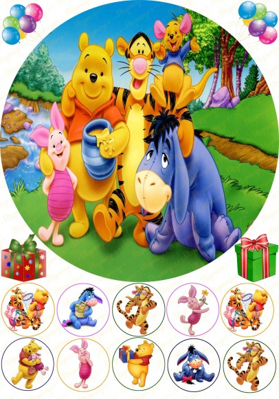 Вафельная картинка Винни Пух №1. Купить вафельную или сахарную картинку Киев и Украина. Цена в интернет магазине Тортодел.