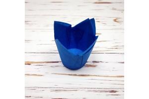 """Форма бумажная для кексов """"Тюльпан"""" голубой, 50*80 мм 25 шт"""