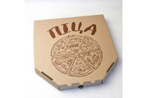 Коробка для пиццы 300х300х37 мм Бурая