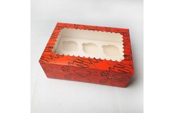 Упаковка на 6 кексов с окошком 255х180х90 Красная
