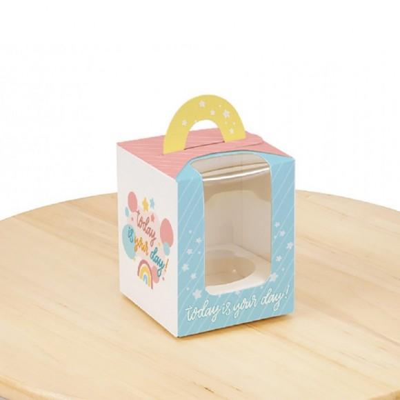 Коробка на 1 кекс 82х82х100 с ручкой Сегодня твой день.Купить в Харькове,Киеве по лучшей цене в интернет- магазине Тортодел