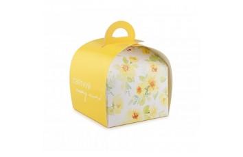Коробка Лепесток №7 для тортов, чизкейков, пирожных 110*110*110мм Желтая однотонная
