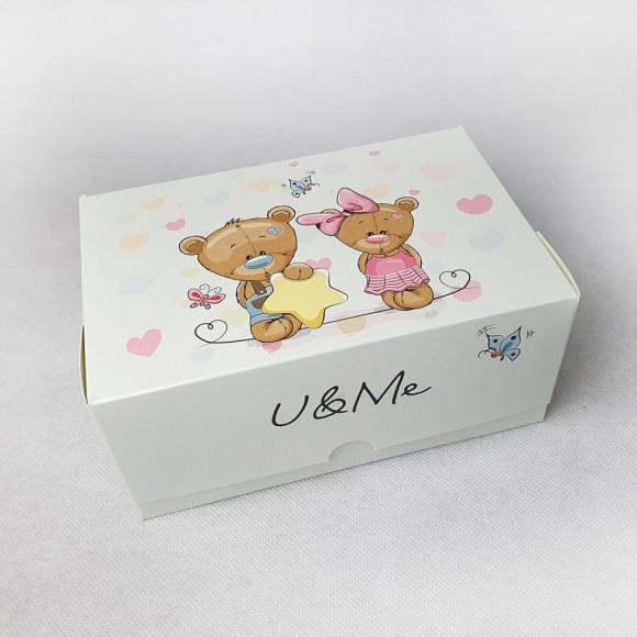 Коробка-контейнер для тортов, чизкейков, пирожных Медвежата 180*120*80 мм.Купить в Харькове,Киеве по лучшей цене в интернет- магазине Тортодел