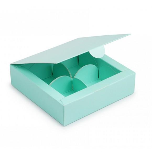 Коробка для конфет 112х112х30 на 4 штуки тиффани.Купить в Харькове,Киеве по лучшей цене в интернет- магазине Тортодел