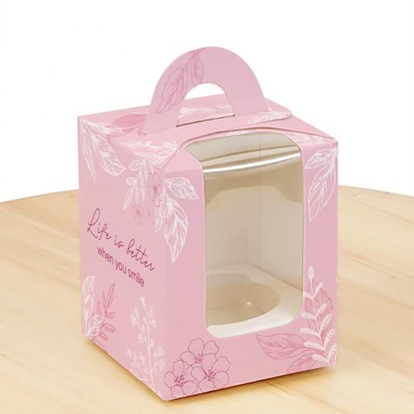 Коробка на 1 кекс 82х82х100 с ручкой Весна розовая.Купить в Харькове,Киеве по лучшей цене в интернет- магазине Тортодел