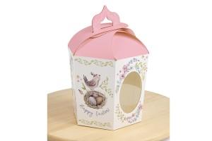 Коробка пасхальная 145х165х160 мм №4 Розовая птичка