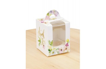 Коробка на 1 кекс 82х82х100 с ручкой Цветы