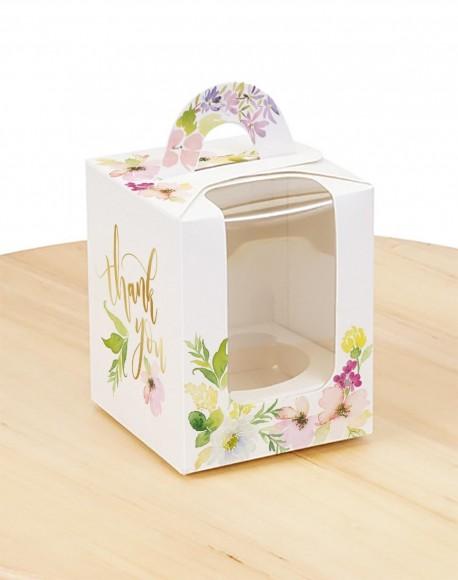 Коробка на 1 кекс 82х82х100 с ручкой Цветы.Купить в Харькове,Киеве по лучшей цене в интернет- магазине Тортодел
