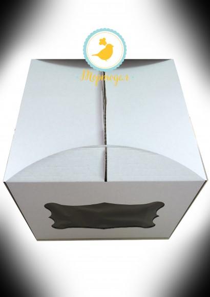 Коробка для торта 300х300х250 с окном.Купить в Харькове,Киеве по лучшей цене в интернет- магазине Тортодел