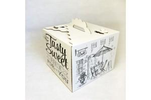 Коробка для торта 250х250х200 мм с принтом и бабочками