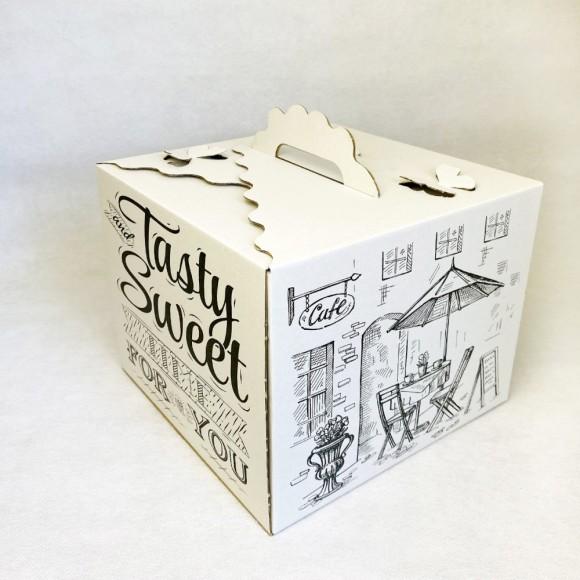 Коробка для торта 250х250х200 мм с принтом и бабочками.Купить в Харькове,Киеве по лучшей цене в интернет- магазине Тортодел
