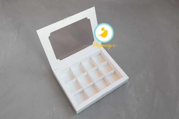 Коробка для конфет 200х155х30 на 12 штук белая.Купить в Харькове,Киеве по лучшей цене в интернет- магазине Тортодел